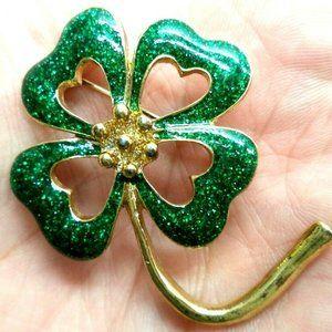 vintage green glitter enamel 4 leaf clover brooch